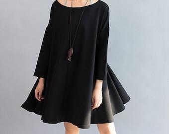Women Cotton Loose Fitting Cloak dress large size Loose doll knee length dress