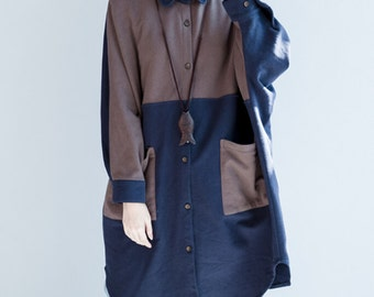 Women Loose fitting Cotton Jacket Oversize Bat sleeve Autumn coat