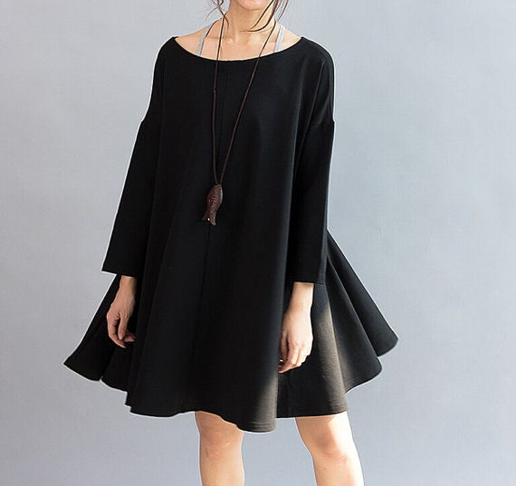 Women Cotton Loose Fitting Cloak dress large size Loose doll knee length dress