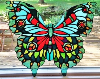 Very Large Stained Glass Butterfly