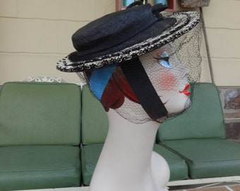 vintage women's hat WWII era sailor millinery size 22 pleats black white 1940's art deco