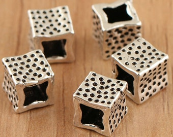 925 sterling silver square beads, sterling silver beads, antique silve beads,cube beads,hole cube.6mm beads