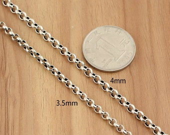 925 Sterling Silver curb chain, antique silver necklace, ring cable chain, silver curb necklace, vintage necklace, 3.5mm-4mm curb chain