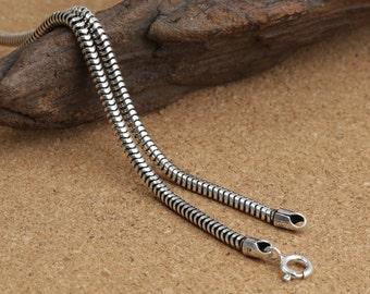 925 sterling silver snake chain, snake bones necklace, silver snake chain necklace, tube necklace, 3mm snake chain