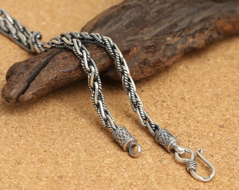 925 sterling silver braided rope necklace, silver statement necklace, 4mm sterling silver necklace, necklace for mens