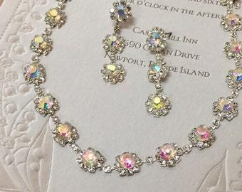 Wedding jewelry set, Bridal jewelry, Bridal necklace earrings, vintage inspired rhinestone bridal necklace statement, AB crystal jewelry set