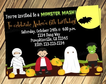 Monster Mash Halloween Birthday Invitation with Photo Option Print Your Own 5x7 or 4x6