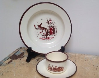 Vintage enamel cup and saucer with plate, Child size