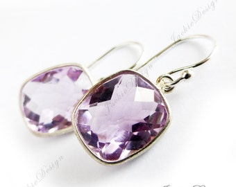 Free Shipping Pink Amethyst Purple Gemstone Rectangle Drop Simple Sterling Silver Earrings ZZ34