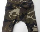 Camo baby leggings- cuff pants- harem leggings