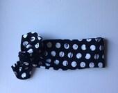 Organic babt knotted headband- black and white polka dot