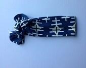 Organic baby knotted headband- navy tribal