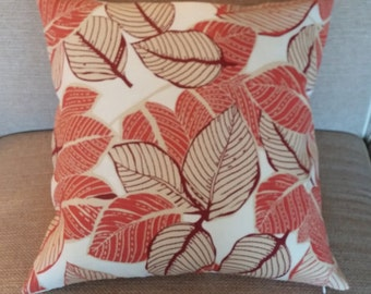 Two 20 x 20  Custom Designer Decorative Pillow Covers for Indoor/Outdoor  - Fall Leaves Brick Orange/Brown