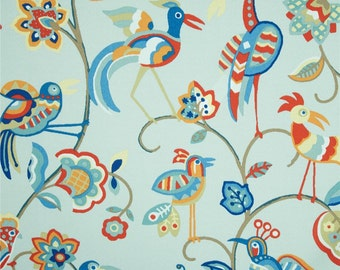 Two 20 x 20 Custom  Designer Decorative Pillow Covers Indoor/Outdoor  -  Birds and Feathers - Blue/Orange/Red/Tan