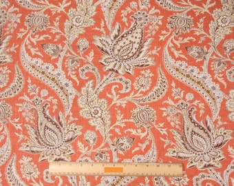 Two 26 x 26 Designer Decorative Pillow Covers - Paisley Orange/Taupe