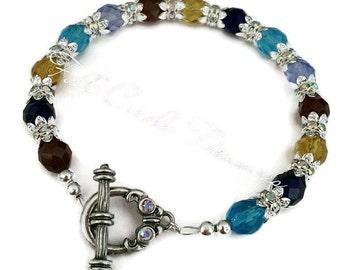Crystal Bracelet - Silver Bracelet - Silver Crystal Bracelet - Rainbow Crystal Bracelet - Silver Rainbow Crystal Bracelet - Silver Jewelry
