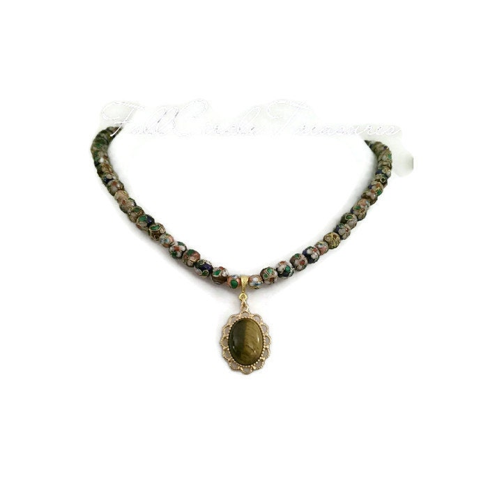 gold tiger eye necklace handmade asian necklace