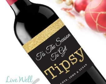 Tipsy Custom Holiday Christmas Wine Labels - Unique Christmas Gift - WEATHERPROOF and REMOVABLE - Wine Bottle Labels