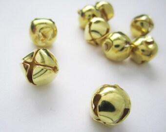 10 gold jingle bell charms - christmas - 12mm