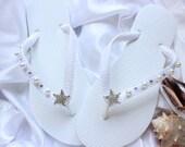 White Wedding Flip Flops. White Bridal Flip Flops. White bridal sandals, white wedding sandals, white bridal shoes, white wedding shoes