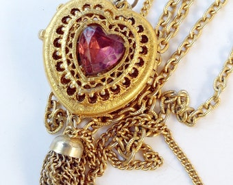 Purple Heart Locket Necklace with Multi Chains Long Retro Fashion Jewelry