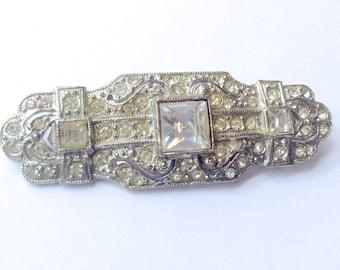 Vintage Rhinestone Brooch with Pierced Metal Bridal Fashion Wedding Jewelry Accessory