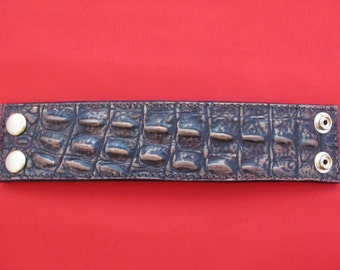 Leather wrist cuff, imitation crocodile hides,bracelets, leather wrist bands, brown leather cuff, western wear, straps. lanyards