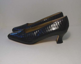Navy Blue Snakeskin Pump Shoes by IMPO