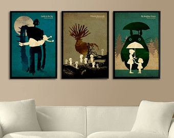 Hayao Miyazaki Vintage Poster Set - Laputa: Castle in the Sky, Princess Mononoke, My Neighbor Totoro