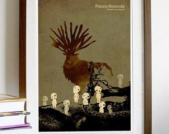 Hayao Miyazaki Anime Movie Poster Series - Princess Mononoke