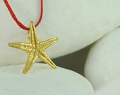 Starfish Pendant,  Gold Plated Solid Sterling Silver - FREE Shipping