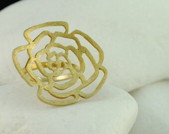 Rosebud  Ring - Gold Plated Solid Sterling Silver (L) - FREE Shipping
