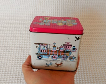 Pink Trains Shabby Chic Small Tin Gorgeous Vintage Cottage Chic