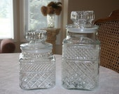 Vintage Anchor Hocking Set of Two One Large One Medium Glass Jar Canister Clear Color Wexford Pattern
