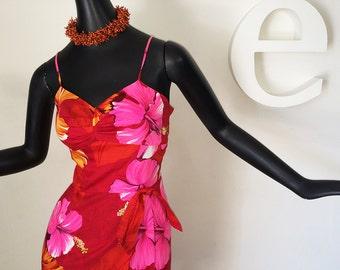 Vintage 60s Hawaiian Sarong Wrap Dress 1960s Rockabilly Pin Up Malihini Hawaii Tiki Oasis Polynesian Hibiscus Flower Built In Bra Size Small