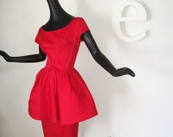 GORGEOUS Rockabilly Vintage 1950s Peplum Dress Lipstick Red Pin Up Pinup Bombshell Full Circle Skirt & Pencil Skirt Valentine's Valentine sm