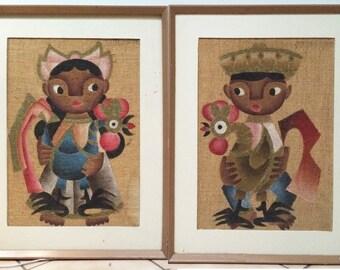 Jose Maria De Servin MCM 2 Rare Vintage 1950s Original Paintings Children Big Eye Kids & Roosters Oil on Burlap Mexican Cubist Artist Mexico