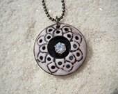 White doily necklace Artisan jewelry Enamel jewelry