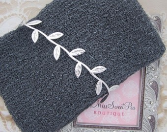 Charcoal Knit Wrap AND/OR Matching Silver Leaf Halo Headband set for photoshoots, charcoal is perfect for boys, bebe, by Lil Miss Sweet Pea