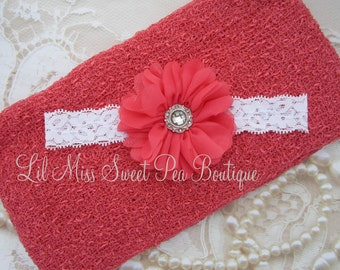 Coral Knit Wrap AND/OR Matching Coral Flower Lace Headband, photo shoots, newborn swaddle wrap, bebe foto, hairband, Lil Miss Sweet Pea