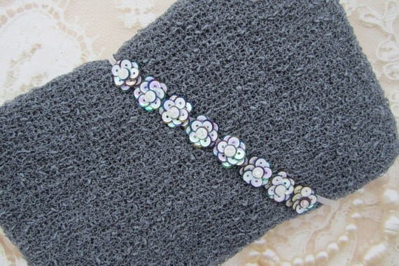 Charcoal Knit Wrap AND / OR Matching Oyster Pearl Sequin Flower Headband set for photoshoots, charcoal for boys, by Lil Miss Sweet Pea 39