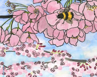 200. bee birthday card with cherry blossoms - set of any 6 cards