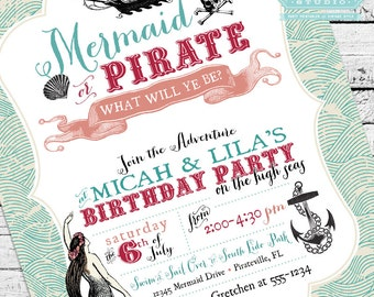 Vintage Mermaid and Pirate Invitation PLUS Matching Thank You Note