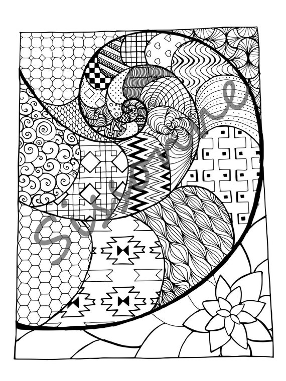 spiral coloring pages to print | Zentangle Inspired Golden Spiral Coloring Page Instant PDF