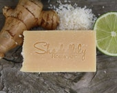 Natural Soap with shredded coconut, coconut lime ginger soap, Ginger lime soap, biodegradable soap, Spring Finds, green, grey, brown, white
