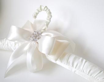 Chic Padded Satin Bridal Dress Hanger. Grande Rhinestone Bow. Gift. Shower Gift Satin Jeweled Bow. Elegant Vogue Bride