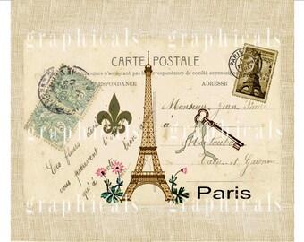 Paris Carte Postale Eiffel Tower ephemera instant graphic digital download for image transfer to fabric paper burlap pillows totes No. D12
