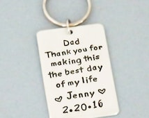Father-of-the-bride gift - Brides gift to Dad on wedding day - Wedding day gift for Dad - Handmade keychain keyring from Belvidesigns