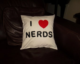 I Love Nerds pillow 14X14 pillow form included