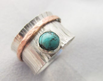 Handmade Sterling Silver Spinner Band with Turquoise stone and Copper ring